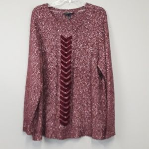 Lane Bryant heathered Maroon braided front sweater